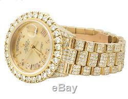 18K Mens 23.75 Ct Yellow Gold Rolex Presidential Day-Date 36MM Diamond Watch
