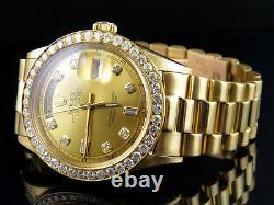 18K Mens Yellow Gold Rolex President 1803 Day-Date 36MM Diamond Watch 3.25 Ct