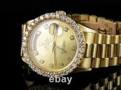 18K Mens Yellow Gold Rolex President Day-Date 36MM 18038 Diamond Watch 4.25 Ct