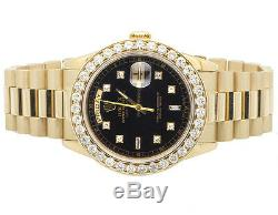 18K Mens Yellow Gold Rolex Presidential Day-Date 36MM Diamond Watch 4.5 CT