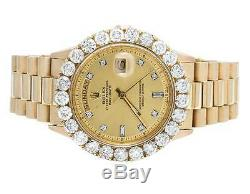 18K Mens Yellow Gold Rolex Presidential Day-Date 36MM Prong Diamond Watch 7.0 Ct
