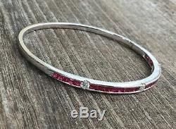 18K White Gold Channel Set Ruby Diamond Bangle Hinged Bracelet 13.5g