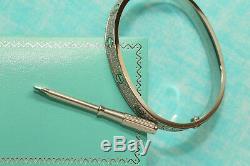 18K White Gold Finish 5 Carat Diamonds Love Bangle Bracelet for Women 19cm