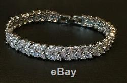18K White Gold Plated Tennis Bracelet made w Swarovski Crystal Marquise Diamond