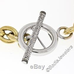 18K Yellow Gold 7.5 Ribbed Rolo Link Bracelet & White Gold Diamond Toggle Clasp