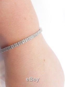 18ct/18k white gold 3.44ct Diamond heavy bracelet, 750