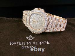18k Rose Gold Mens Patek Philippe Nautilus 5711/1R-001 Pave Set Diamond Watch