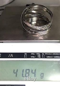 18k Solid White Gold 7 Pieces Set Flat Bangle Diamond Cut. 2.35 =60mm, 41.84Grs