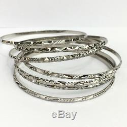 18k Solid White Gold 7 Pieces Set Flat Bangle Diamond Cut. 56mm, 28.12 Grams