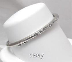 18k White Gold. 52ct Pave' Diamond Bangle Bracelet NICE Quality 16.5gr