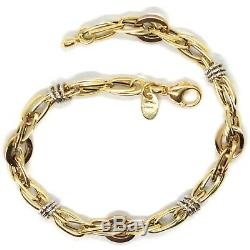 18k Yellow White Rose Gold Bracelet, Alternate Circles And Ovals, Made In Italy