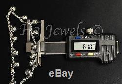 18k white gold charm bracelet ball bracelet diamond cut 5.40 h3jewels #2524