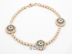 18kt Rose Gold Silver Evil Eye Blue & White Sapphire Kabbalah Tennis Bracelet