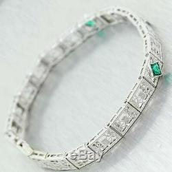 1930's Antique Art Deco 14K White Gold Emerald & Diamond Filigree Bracelet