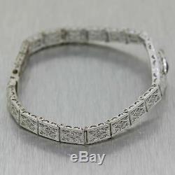 1930s Antique Art Deco 14K White Gold Diamond Trillion Emerald Filigree Bracelet