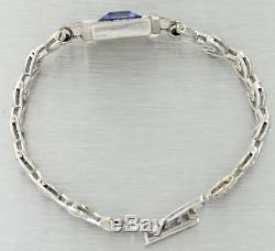 1930s Antique Art Deco 14k Solid White Gold Blue Stone 1.00ct Diamond Bracelet