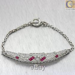1930s Art Deco 14k White Gold Platinum Filigree. 45ct Diamond Ruby Bracelet