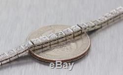 1940s Antique Art Deco 14K White Gold 1.32ctw Diamond Tennis Bracelet M8