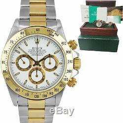 1995 Rolex Daytona Cosmograph Zenith S 16523 40mm Two-Tone Gold White Watch B+P