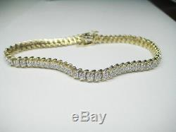 1.00CT G I1 Round Cut Diamond Tennis Bracelet 10K Yellow Gold