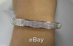 1.35 Carat Womens White Gold Finish 100% Real Genuine Diamond Bracelet Bangle