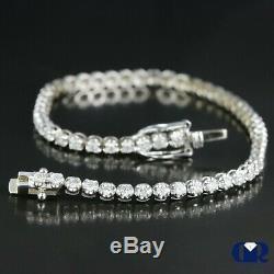 1.53 Ct Natural Round Cut Diamond Tennis Bracelet In 14K White Gold 6 1/2