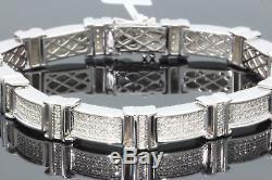 1.80 Carat Mens White Gold Finish Real Natural Diamonds Bracelet