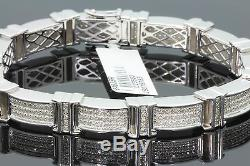 1.97 Carat Mens White Gold Finish Real Natural Diamonds Bracelet