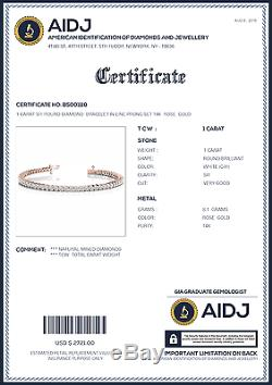 1 Carat SI1 White Round Diamond Bracelet Prong Set 14k Rose Gold