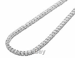 1 Row Diamond Chain Necklace Choker White Gold Finish 3.5 MM 18 ins 1.25 Ct
