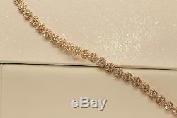 1ct Round Flower Diamond Tennis Bracelet in 14K Yellow Gold Finish 0.5 Carat