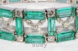 $200,000 48.59ct Natural Colombian Emerald & Diamond Cluster Bracelet Vs 18k Wg