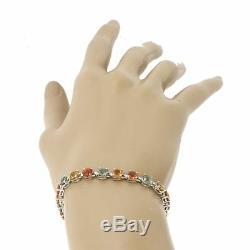 $2600 Modern Estate Women's 14k White Gold Multicolor 12.0ctw Sapphire Bracelet