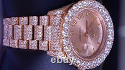27 Cts White Diamonds Rolex Day-Date II 18K Rose Gold Watch 218235 Video ASAAR