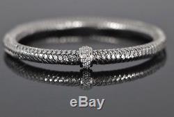 $2,300 Roberto Coin 18K White Gold Round Pave Diamond Primavera Woven Bracelet