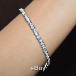 2.50 Ct Tennis Bracelet 7.5 Row Round Cut D/vvs1 Diamonds 14k White Gold Finish