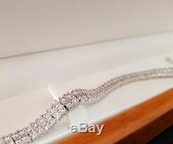 2 Row 10.00 Carat Round Cut Diamond Tennis Bracelet 14k White Gold Over 7.25