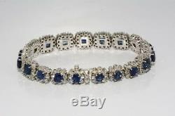 $30,000 17.71ct Natural Blue Sapphire & Diamond Cluster Bracelet 18k White Gold