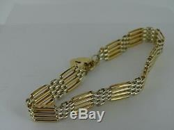 375 9ct Yellow & White Gold Gate Bracelet with Heart Padlock Authentic Retro
