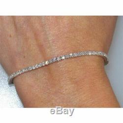 3.25CT Beautiful Round Cut Sim Diamond Tennis 7 Bracelet 14K White Gold Over