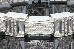 3 Carat Mens White Gold Finish Real Natural Diamonds Bracelet