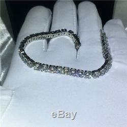 3 mm VVS Round Brilliant DEF Colorless Moissanite Tennis Bracelet 14K White Gold