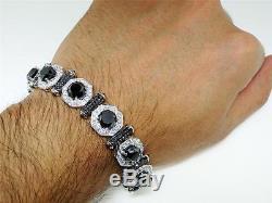 45.5 Ct White Gold Black Diamond Solitaire Prestige Bracelet Bangle 8.5 inch