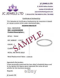 4.00ct Round Diamond Round Diamond Tennis Bracelet, White Gold