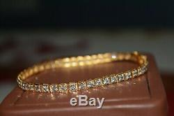 5CT Natural Diamond Tennis Bracelet Bangle 18K Yellow Gold Antique Vintage Heavy