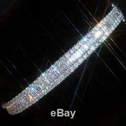 5Ct Natural Diamond 14K White Gold Cluster Bangle EFFECT 15Ct BWG9