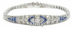 5.00CT Round White Diamond Art Deco/ Vintage Tennis Bracelet 14K White Gold Over