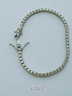 5.00 CT Round Cut VVS1 Diamond Women's Tennis Bracelet 14k White Gold Over 7.25