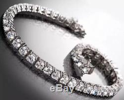5.00 Carat White Gold Natural Diamond Tennis Bracelet Set In 14l White Gold