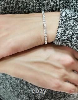5 Carat Exceptional White Natural Round Diamond Tennis Bracelet White Gold